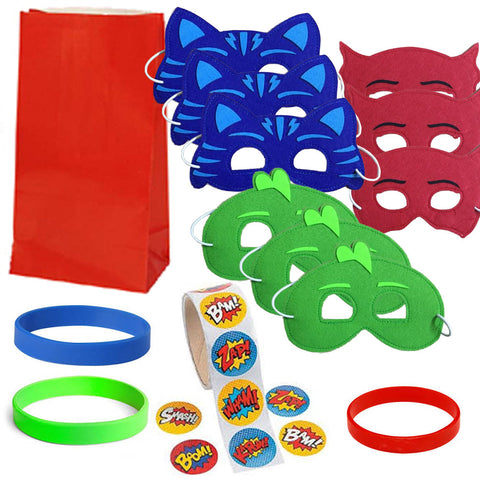 12 Guest Favor Set - Red, Green, Blue Superhero Masks, Favor Bags, Stickers, Wristbands