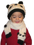 Cozy Fleece Panda Infant Hat & Scarf Set
