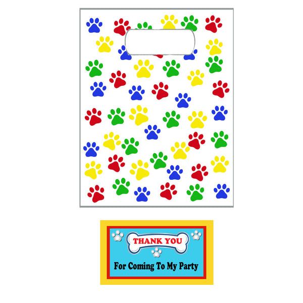 Paw Print Party Favor Bags and Tags (12)