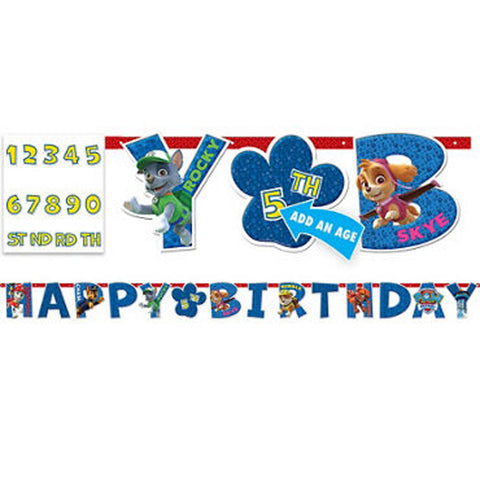 Paw Patrol custom birthday banner