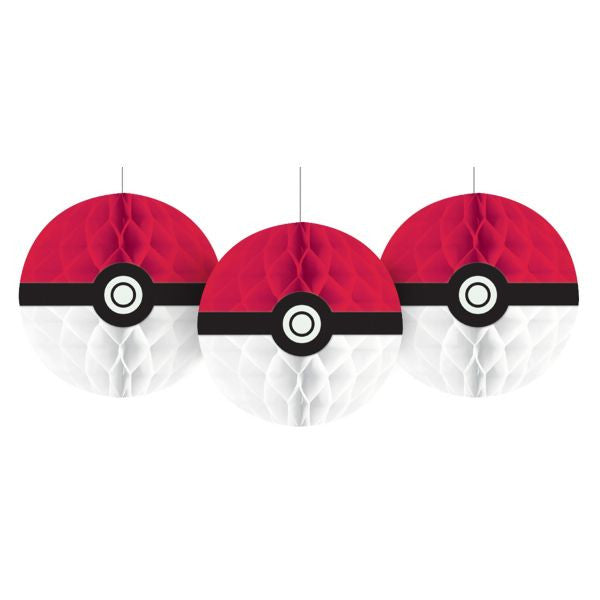 3 Hanging Pokemon Pokeballs Honeycomb Decorations