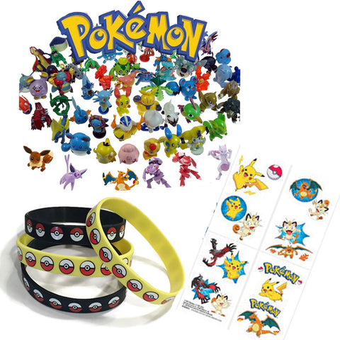 16 Pokemon Tattoos, 24 Figures, 12 Pokeball Wristbands