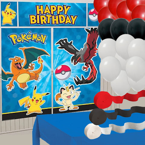 Pokemon Wall Banner, 3 Streamers, 24 Balloons, Blue Tablecover