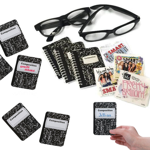 12 Black Rim Glasses / 24 Project MC2 Stickers / 12 Mini Notebooks/ Cutouts