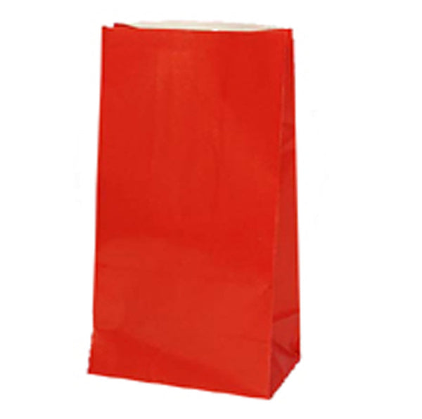 12 Paper Party Favor Treat Bags - Red