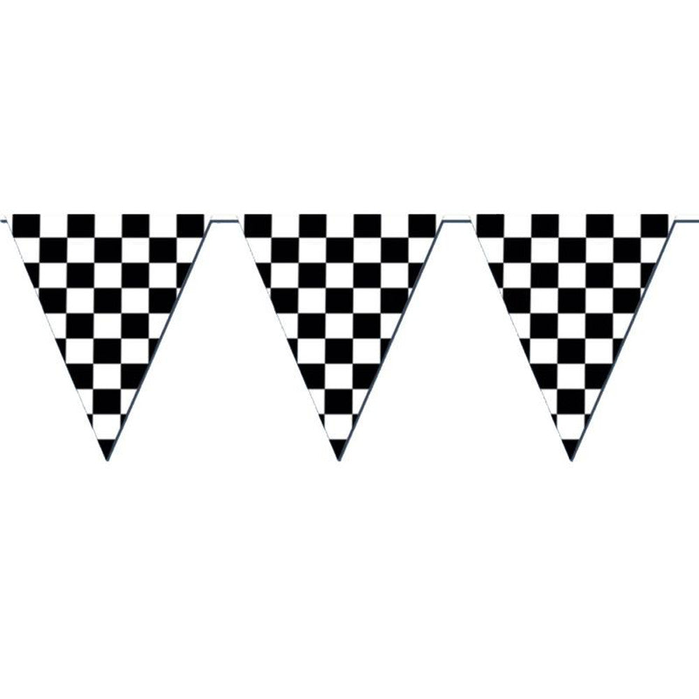 Racing Checkered Flag Pennant Party Banner 12 Ft Majors