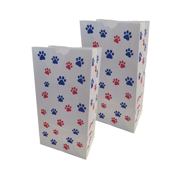 50 Paper Party Favor Treat Bags (M)- White with Red / Blue Paw Print
