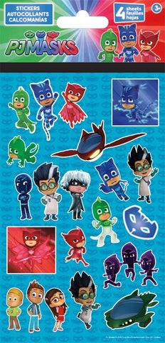 pj masks party stickers 4 sheets