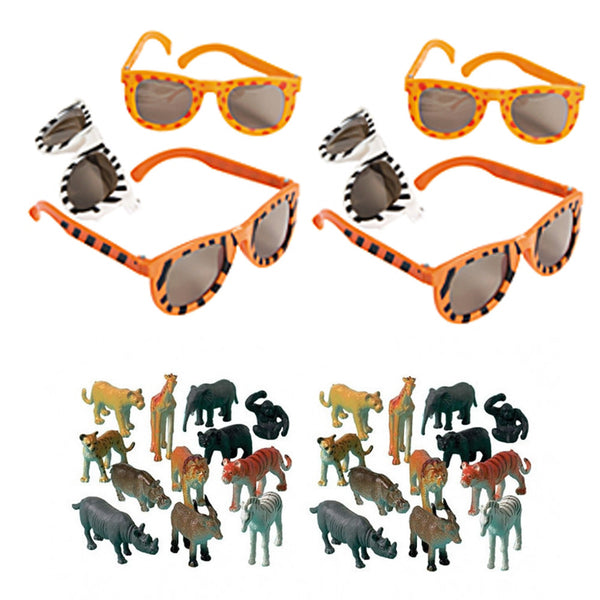 12 Animal Print Glasses & 24 Animal Party Favor Figures