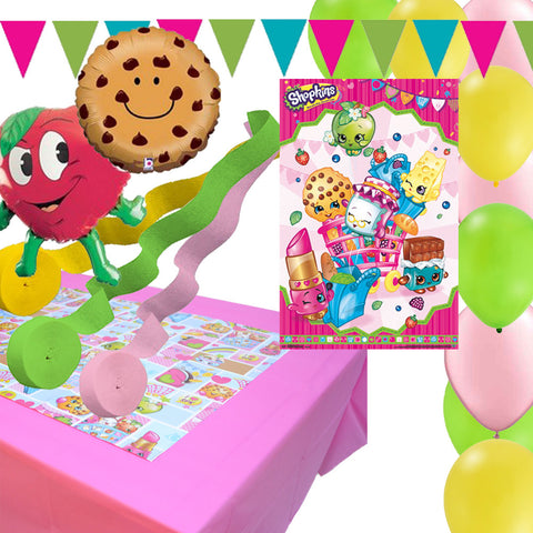 Shopkins Party Poster - Tablecover - Balloons - Banners - Streamers Decoration Set