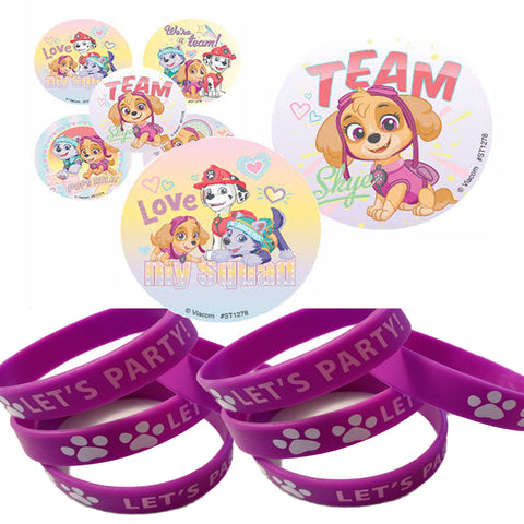 girl pups skye stickers wristbands