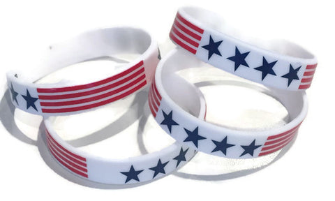 50 USA Patriotic Stars & Stripes Wristbands - Youth Party Favors - Bulk Price