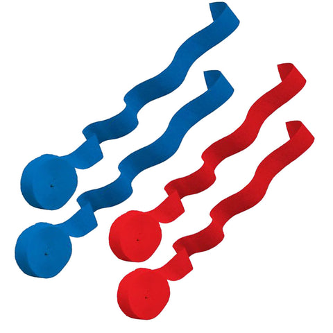 4 Crepe Streamer Rolls - Red & Blue
