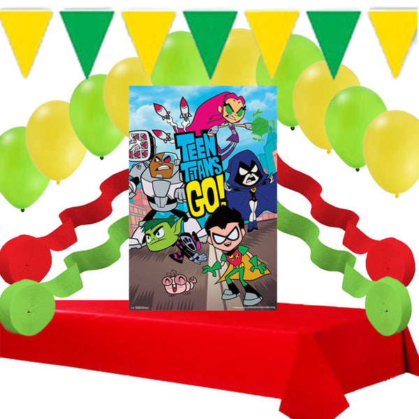 Teens Titans Go Party: Poster, Balloons, Table Cover, Streamers Decorations Set