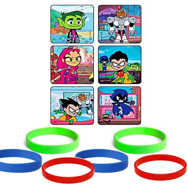 24 Teen Titans Go Stickers & 12 Youth Wristbands (Blue/ Red/ Green)