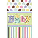 Baby Shower Pastel Dots Stripes Disposable Plastic Table Cover