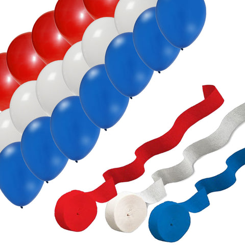 USA Red White Blue Streamers (3) & Party Balloons (24)