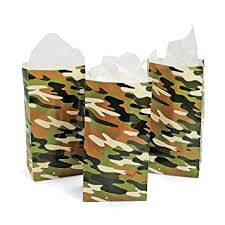 12 Army Camouflage Party Favor Bags