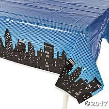 Superhero Plastic Table Cover - Night Sky Skyline Design