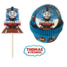 Thomas the Train Cupcake Set - Licensed Thomas the Train Cups & Picks (24)
