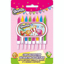 Shopkins Cake Decoration, 8 Birthday Candles, Holders