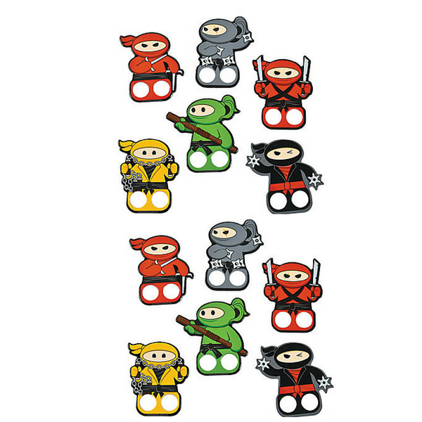 12 Ninja Finger Puppets Party Favors