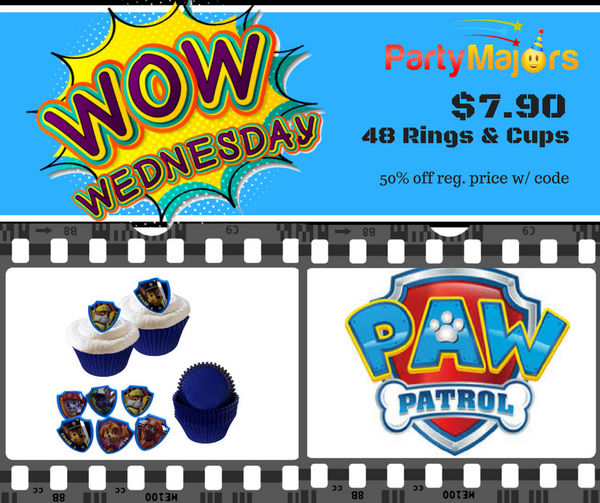 WOW Weds! - 48 pc Paw Patrol Cupcake Rings & Cups- 11/8/17