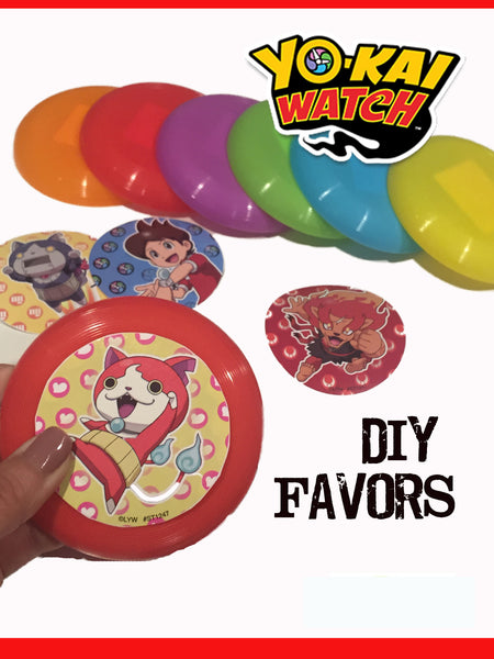 12 Yo-Kai Watch Stickers & 12 Party Favor Discs - DIY Set