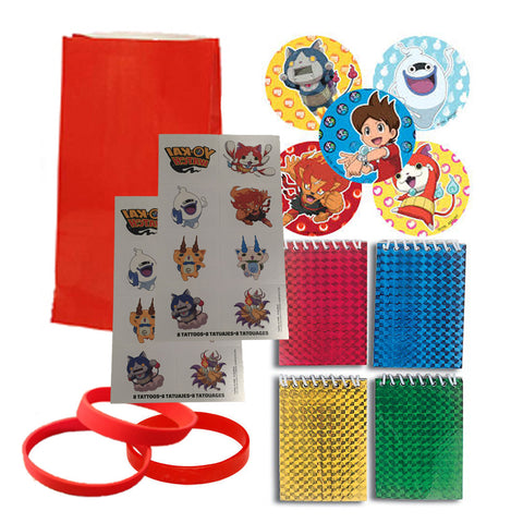 12 Guest Yo-Kai Watch Favor Sets: Red Bags, Stickers, Wristbands, Notepads, Tattoos