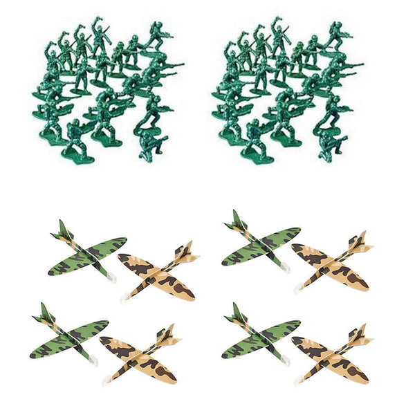 24 Army Camouflage Airplane Gliders & 50 Mini Army Men Figures - Party Favors