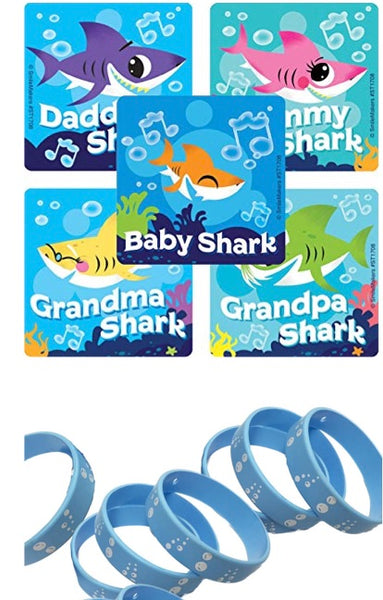 24 Baby Shark Party Stickers & 12 Bubble Favor Wristbands