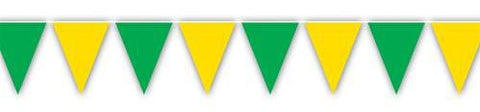 1 Green & 1 Yellow Flag Pennant Party Banners - 12 ft each
