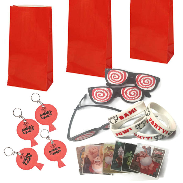 Captain Underpants Deluxe Favor Stickers, Black Wristbands, Hypnotic Glasses, Whoopie Cushions, Bags