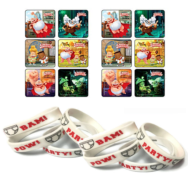 24 Captain Underpants Movie Stickers & 12 Black Favor Wristbands