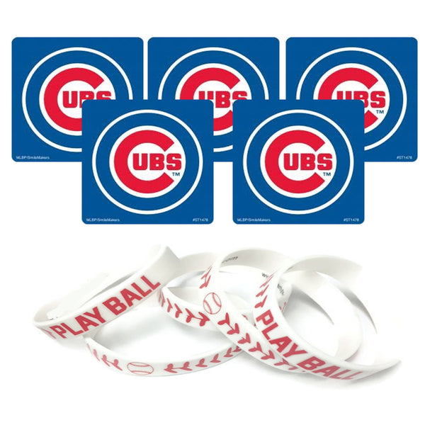 chicago cubs baseball stickers and wristbands
