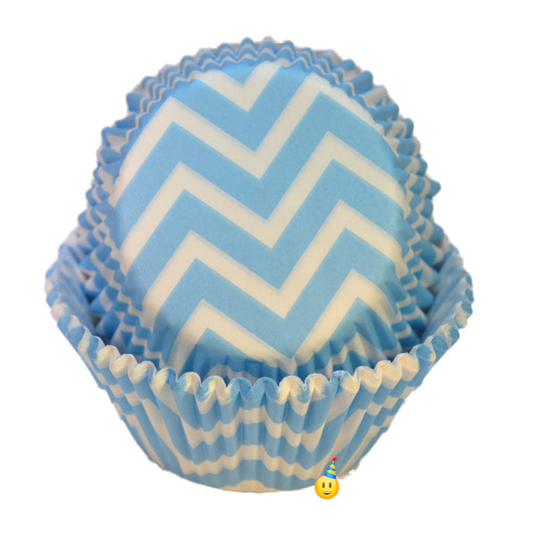 Cupcake Cups - Chevron Powder Blue & White (24)