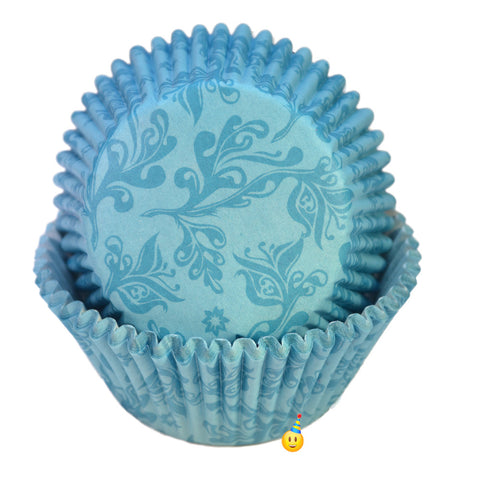Damask Blue Baking Liners