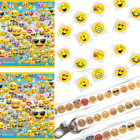 12 Emoji Lanyards / 12 Favor Bags / 36 Tattoos