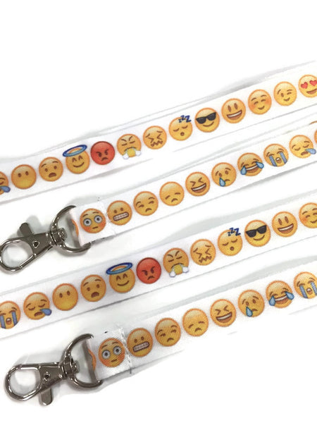 Emoji Happy Face Print Lanyards - Youth Party Favors