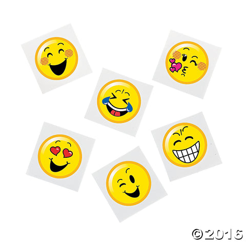 Emoji Emoticon Happy Face Tattoos - Party Favors 36pc