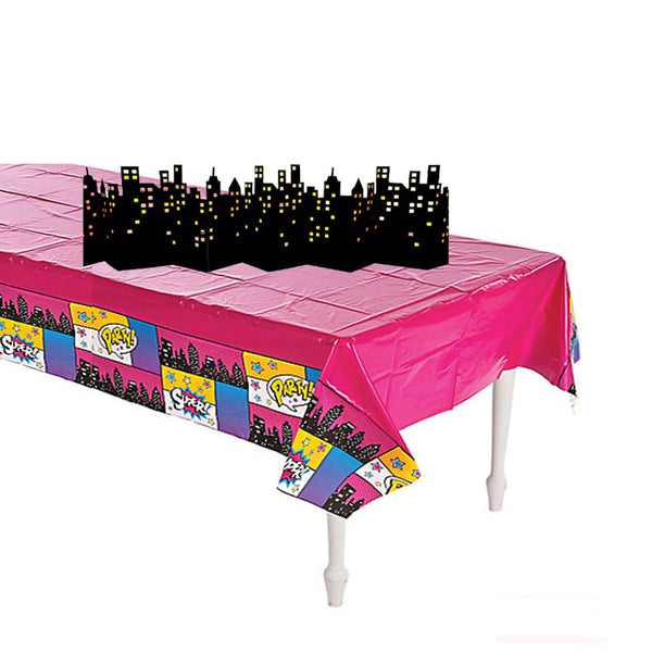 Superhero GIRL Plastic Table Cover & Skyline Decoration