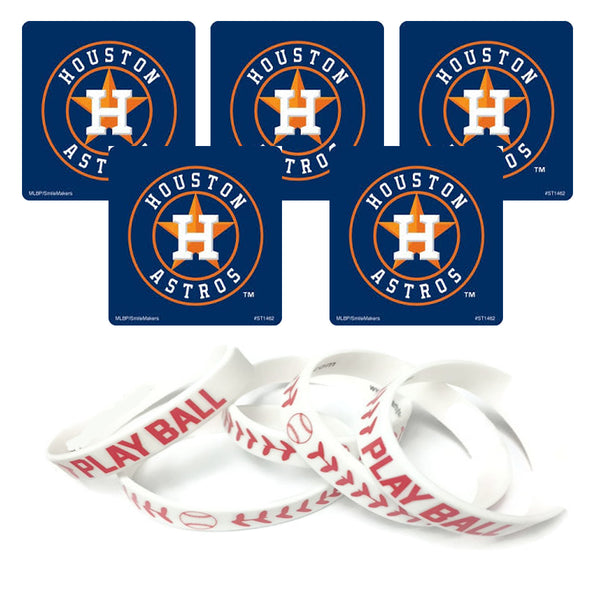 Houston Astros party favors stickers wristbands