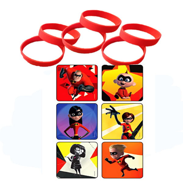Incredibles movie party favors stickers wristbands