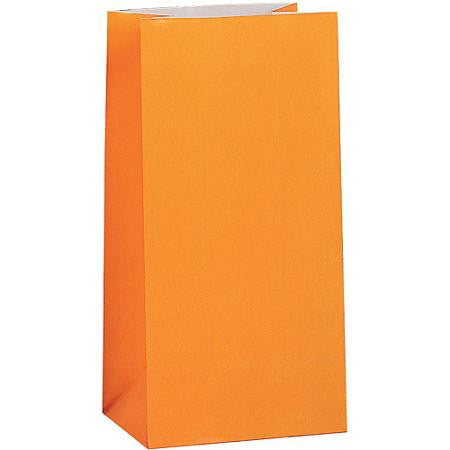 Orange party paper favor bags