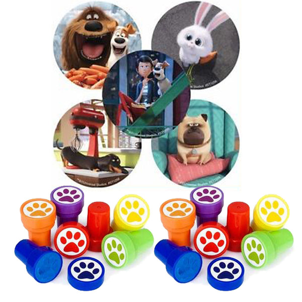 24 Secret Life Of Pets Party Stickers & 12 Paw Favor Stampers