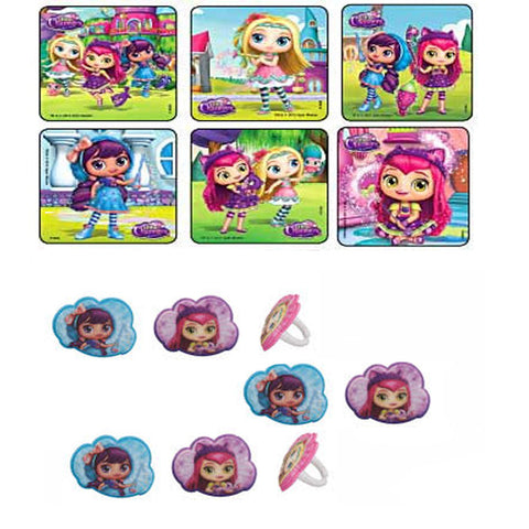 24 Little Charmers Scene Stickers & 24 Cupcake Rings