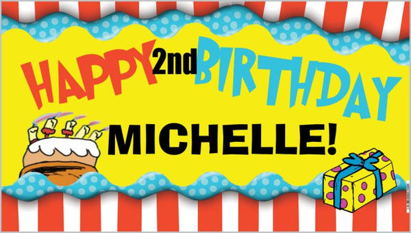 Personalized Birthday Banner - DRS HAPPY 2ND BIRTHDAY