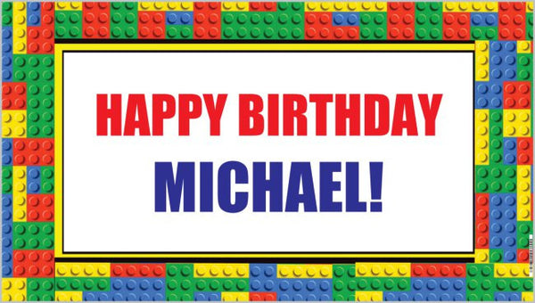 Personalized Birthday Banner - BRICK BLOCKS
