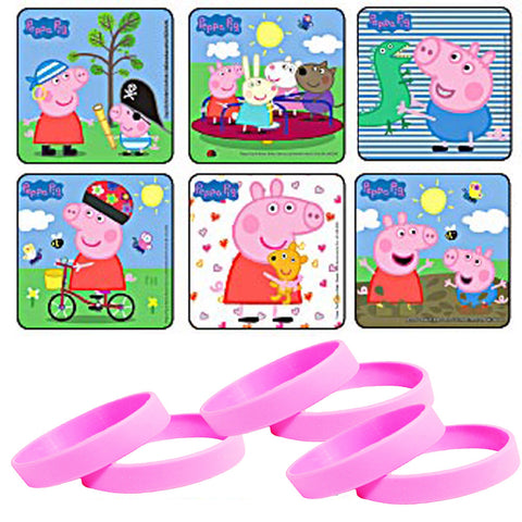 peppa pig stickers and party wristbands