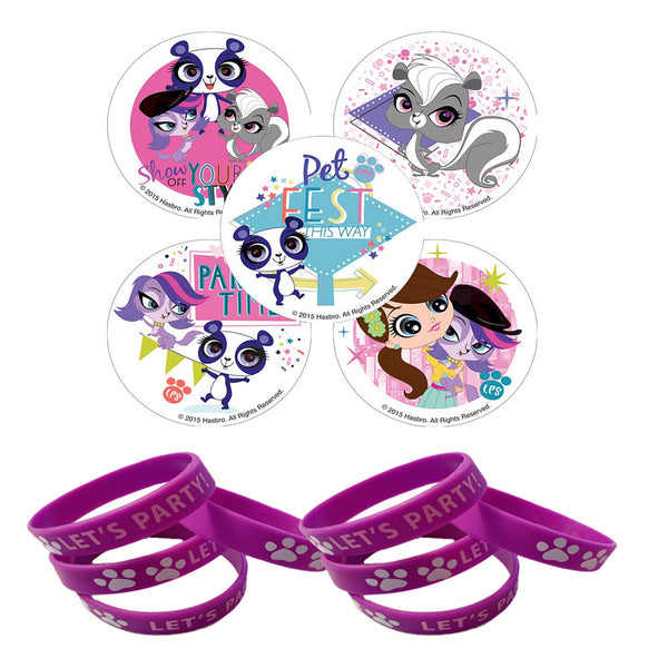 24 Littlest Pet Shop Stickers & 12 Purple Paw Purple Print Wristbands